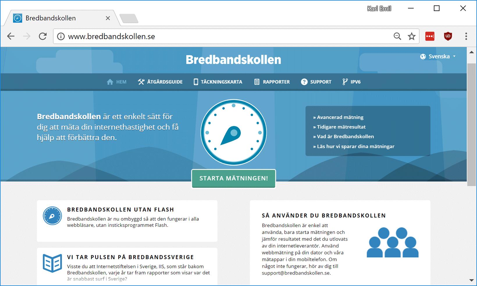 Webbtjänsten Bredbandskollen