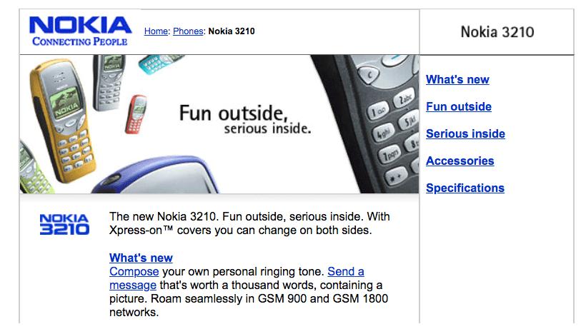 Nokias webbplats visar Nokia 3210.