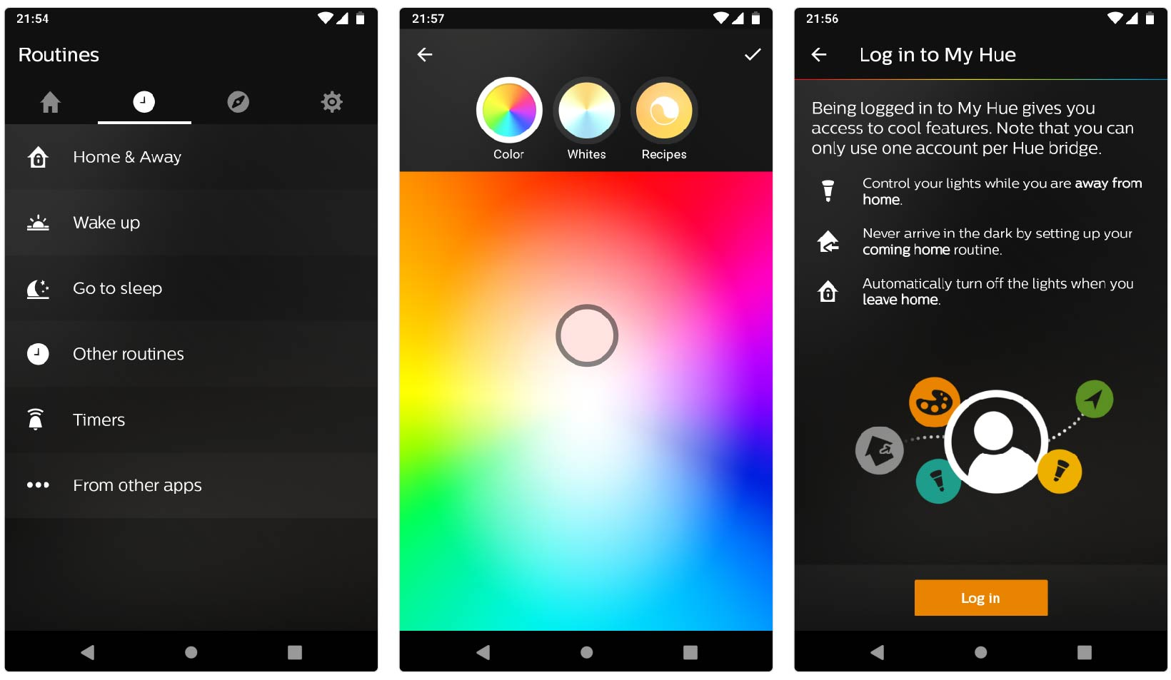 Philips Hue-appen på Android