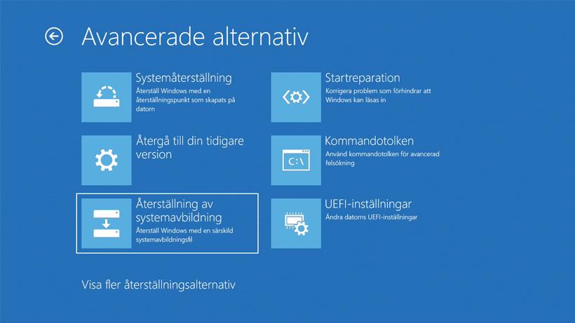 Återställning i Windows 10