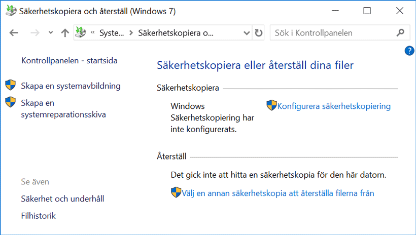 Kontrollpanelen i Windows 10