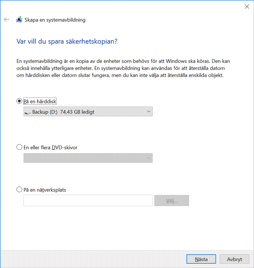 Systemavbildning i Windows 10