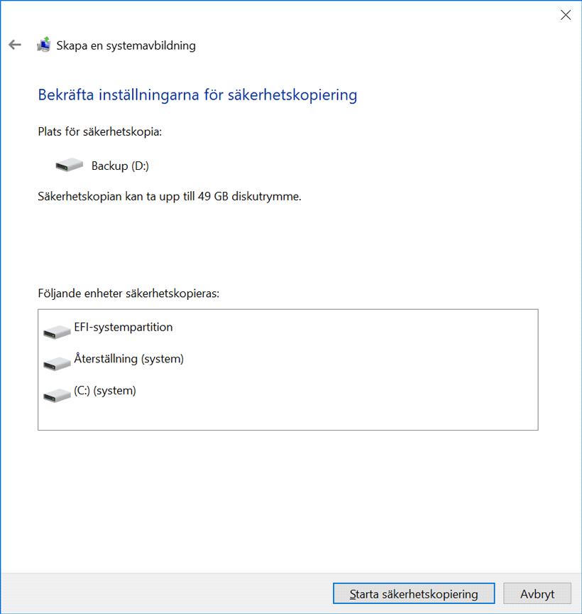 Systemavbildning i Windows 10