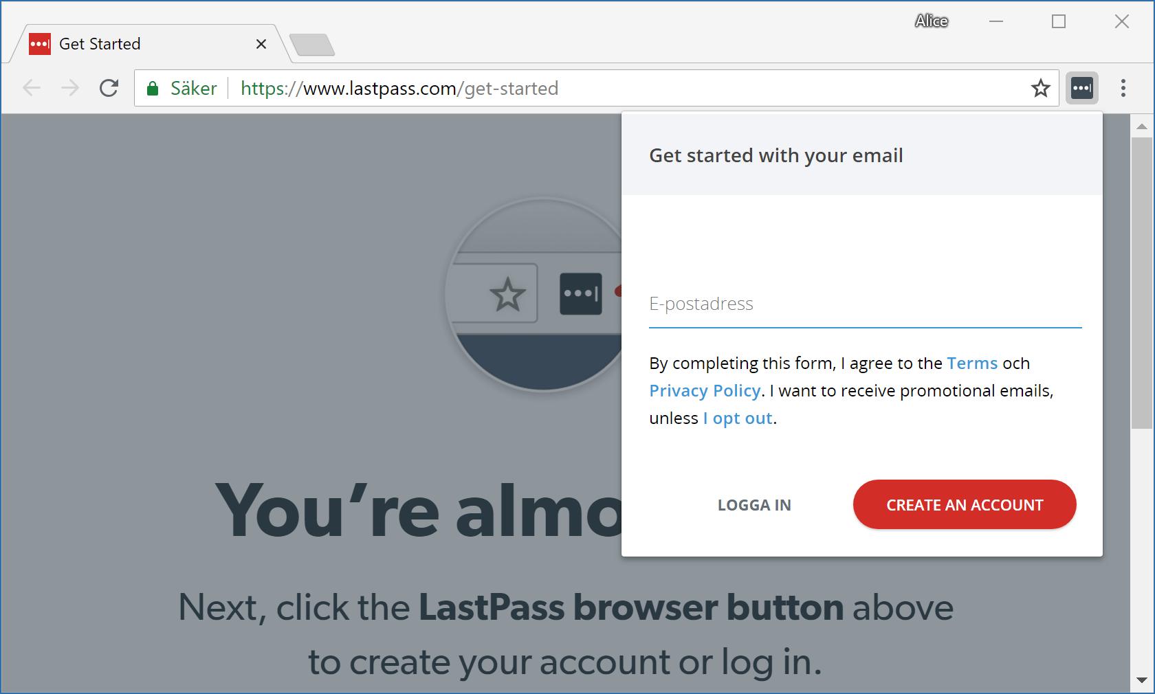 Vi skapar ett nytt Lastpass-konto direkt från webbläsartillägget.